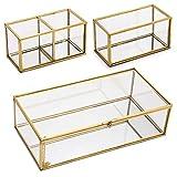SUMTree Joyero vintage de metal y cristal, 3 joyeros, soporte para joyas, escritorio, organizador de brochas de maquillaje, para joyas de mujer (dorado, rectangular)