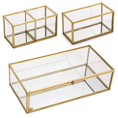 SUMTree Portagioie vintage in metallo e vetro, 3 portagioielli, da scrivania, organizer per pennelli da trucco, per gioielli di donna (oro, rettangolare)
