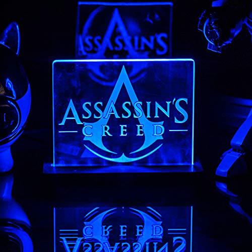 Assassin's Creed luz de noche led, dormitorio con lámpara de mesa 3D, luz de reposo junto a la cama interruptor táctil a color de ahorro de energía control remoto de 150 mm