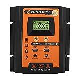 KIMISS 12V / 24V MPPT Controlador de carga solar Regulador de batería del panel solar con Pantalla LCD dual USB(50A)