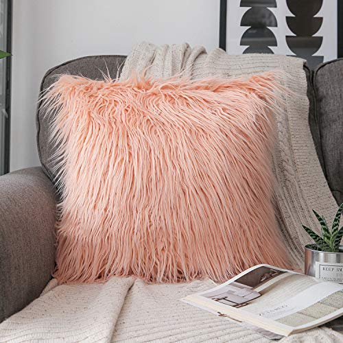 Phantoscope Luxury Series Throw Pillow Covers Faux Fur Mongolian Style Plush Cushion Case for Couch Bed and Chair, Orange, 18 x 18 inches, 45 x 45 cm