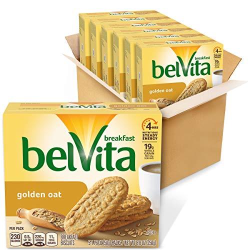 belVita Golden Oat Breakfast Biscuits, 6 Boxes of 5 Packs (4 Biscuits Per Pack)
