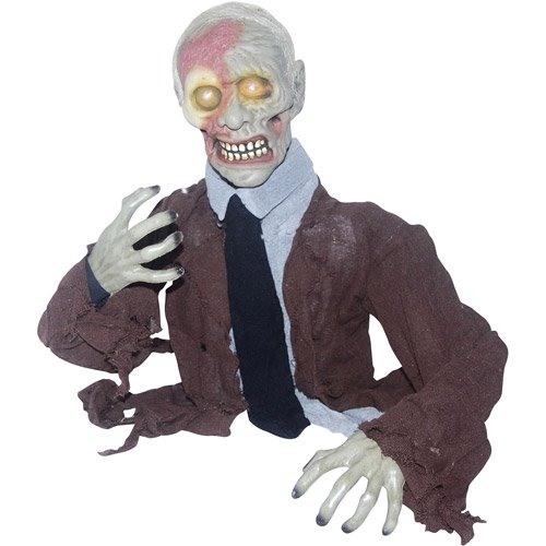 Animated Zombie Prop Halloween Groundbreaker with Head-turning Motion