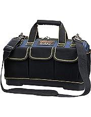 AIRAJ 42 * 23 * 29 cm brede mond gereedschapstas, grote opbergtas, canvas kit met ABS waterbestendig gegoten basis, elektricien tas met verstelbare schouderriem