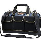 AIRAJ Werkzeugtasche Wasserdichte 42×23×29CM,Multifunktionswerkzeug Einkaufstasche,Elektriker Werkzeugtaschen mit Kunststoffboden und Verstellbarem Schultergurt,Professionelle Werkzeugtasche