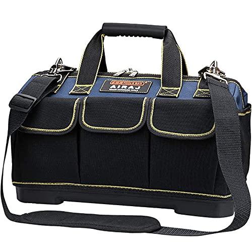 AIRAJ Borsa Porta Attrezzi 42×23×29CM,Multifunzionale a Bocca Larga,Ampia Borsa Grande,Base in ABS Impermeabile,Con Spallacci Regolabili,Elettricisti Borsa degli Attrezzi,Professionale Borsa Attrezzi
