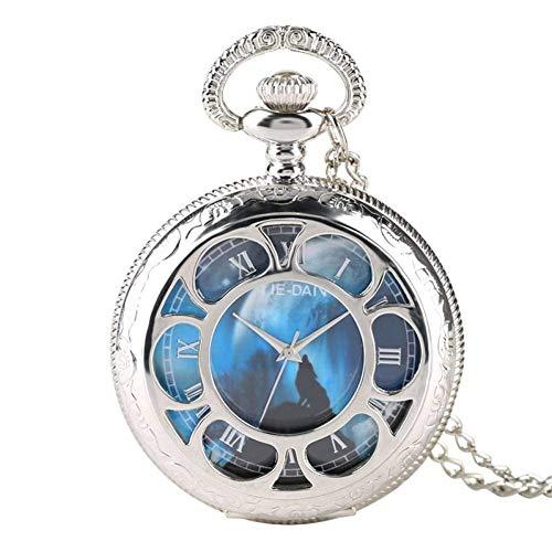 J-Love Reloj de Bolsillo de Cuarzo con Esfera de Lobo Azul Creativo, Collar de joyería con Encanto Nocturno, Cadena, Reloj de Plata Fob como Regalo Colgante para Hombres y Mujeres
