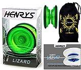 Henrys LIZARD YoYo (Grun) Professionelle Entry-Level-YoYo + Lehr-Broschüre von Tricks + Stoff...