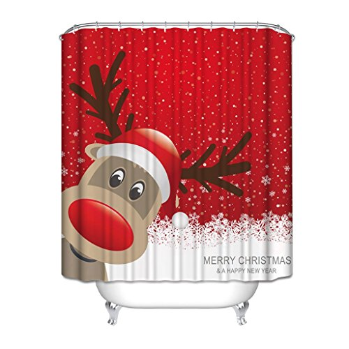 sun-shine Custom Duschvorhang Weihnachten Dekoration Stoff im europäischen Stil Hintergr& Schimmelresistent Wasserdicht mit Haken Set für Badezimmer, Textil, Christmas 4, 48x72IN