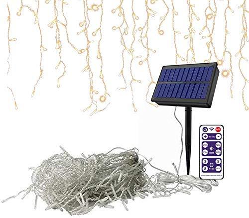GOESWELL LED Premium Eisregen Lichterkette mit 288 LEDs,Lichterkette Außen Solar,Lichterkette innen für Innenausstattung Außenbereich Schlafzimmer Hochzeit Weihnachten Party (Warmweiß,7m)