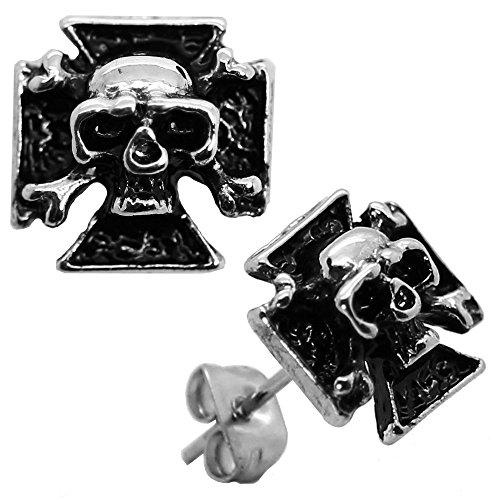 1 Paar Ohrstecker Ohrringe Kreuz Totenkopf Skull Schädel Edelstahl Herren Biker Ohrschmuck Silberfarben Schwarz
