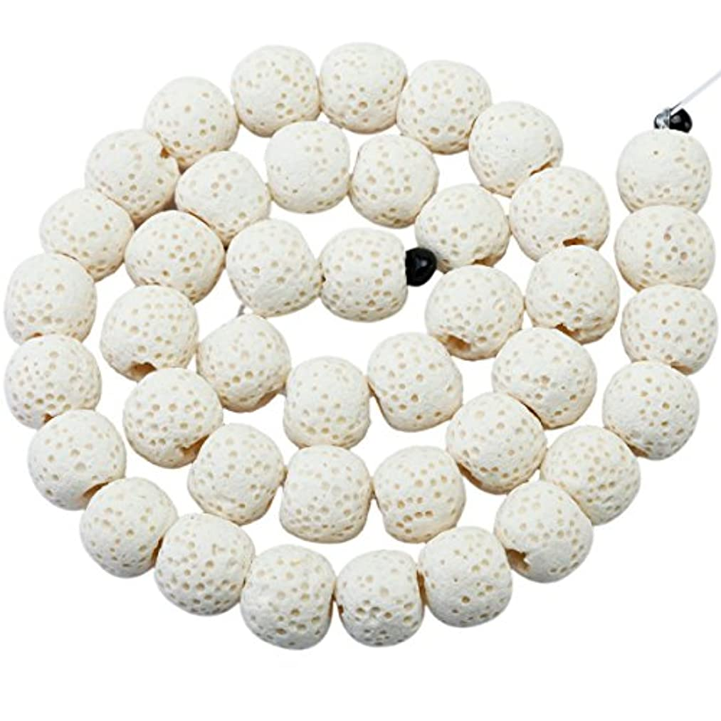 rockcloud 10mm White Lava Rock Stone Gemstone Beads Round Loose Beads 14 inch for Jewelry Making Findings Accessories
