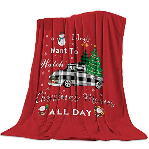 Super Soft Santa Claus Throw Blanket, Warm Cozy Lightweight Fleece Blanket for Bed Sofa Couch, Bedroom Living Room Blankets 50x60inch, Black White Lattice Truck and Snowman Christmas Tree