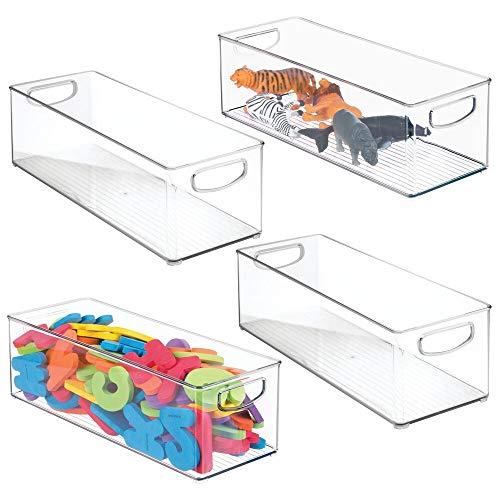 mDesign Juego de 4 organizadores de juguetes – Juguetero grande con asas de plástico robusto – Caja organizadora para guardar juguetes y manualidades en el cuarto infantil – transparente