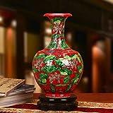 Q-HL Jarrones Jarrón Flores Rojo Chino florero de cerámica, Mano Antigua esculpido jarrones de Flores, floreros for Sala de Estar 27 * 16cm