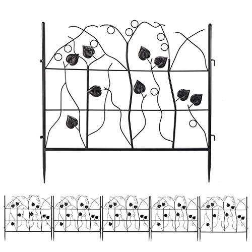 LUVODI Recinzione da giardino in metallo, 68,6 cm x 3,4 m, 5 pannelli decorativi da giardino, cancello per animali domestici, barriera per aiuole, bordo pieghevole