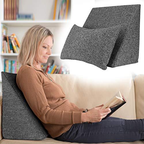 Selfitex praktisches Keilkissen, Lesekissen, Rückenstütze, ergonomische Form (50x40 cm Höhe 25 cm), inklusive Relaxkissen, Sofakissen, Wellness-Kissen 2er Set für Bett/Sofa/Couch (Anthrazit)