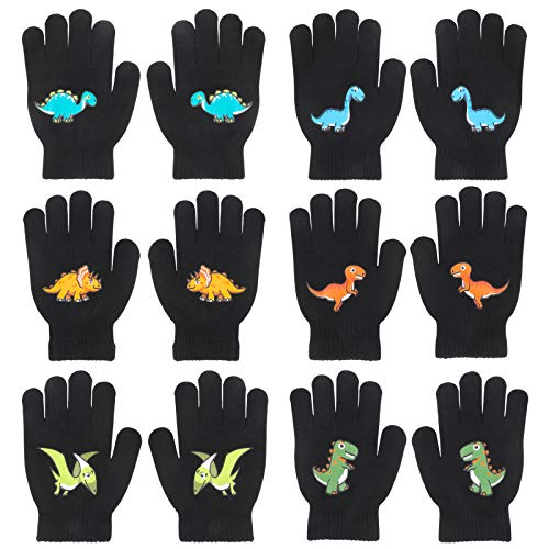 QKURT 6 Paare von Kinderhandschuhe,Kleinkind Stretch-Fäustlinge Kinderhandschuh Fit für 5~12 Jahre alte Kinder Baby Kinder