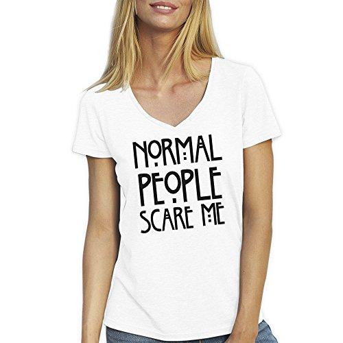 Normal People Scare Me Runa Logo Blanca T-Shirt Camiseta Cuello V para la Mujer X Large