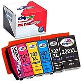 Kingway 202 XL cartucce Sostituzione per Epson 202 202XL per Epson Expression premium XP-6100 XP-6000 XP-6105 XP-6005 XP6100 XP6000 XP6005 XP6105(1 Nero,1 Foto Nero,1 Ciano,1 Magenta,1 Giallo)