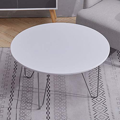 Coffee Table Circle Walnut Veneer Side table with Black Metal legs Sofa table, White 80x80x42cm