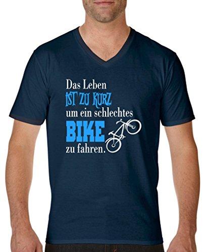 Comedy Shirts - Das Leben ist zu kurz um EIN schlechtes Bike zu Fahren - Herren V-Neck T-Shirt - Navy/Weiss-Blau Gr. L