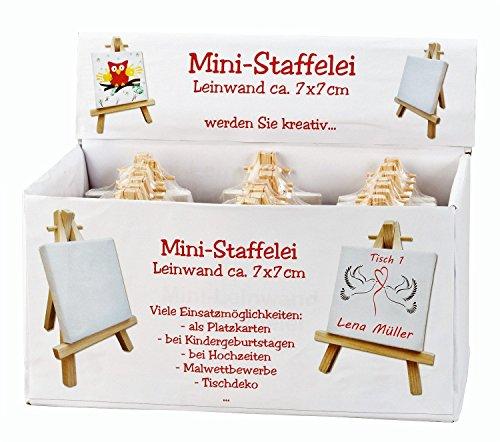 Geschenkestadl 24 Stück Mini Leinwand Keilrahmen auf Staffelei im Display Malen & Basteln Namensschild