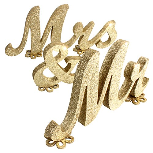 SROOD Mr and Mrs Sign Wedding Decorations Mr & Mrs Sign Sweetheart Wedding Table Decorations Wooden Letters Gold Glitter, (30' x 6', Gold)