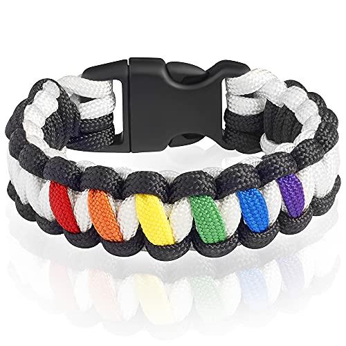 Survival Paracord Bracelet with Fastex - Rainbow Bracelet - Pride Unisex Cobra Bracelet - 550 lb Parachute Cord - Colorfull Wristband - Medium Size - LGBT Flag Accessory -Transgender Lesbian Gay