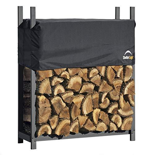 ShelterLogic Kaminholzregal, Kaminholzständer, Holzregal mit Abdeckung 120cm // Brennholzregal für Feuerholz