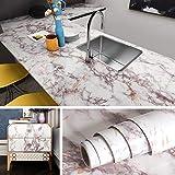 Livelynine Papel pintado de mármol autoadhesivo de 15.8 x 197 pulgadas para encimera, cubierta de encimera de granito, cubierta de escritorio extraíble