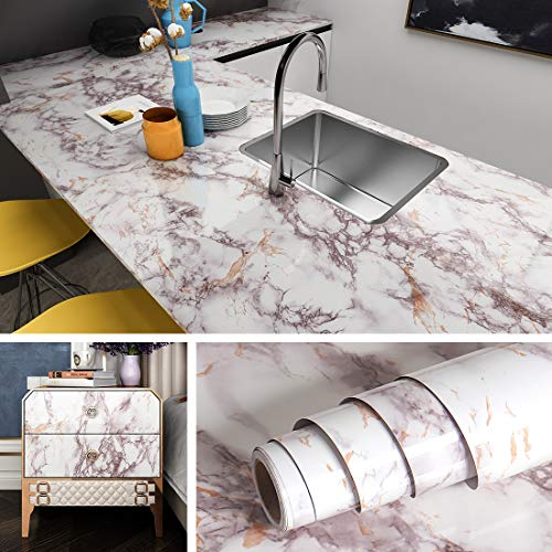 Livelynine Peel and Stick Countertops Peel and Stick Backsplashes for Kitchen Marble Wall Paper Self Adhesive Counter Top Cover Removable Wallpaper Dining Table Cover 15.7x78.7 Inches