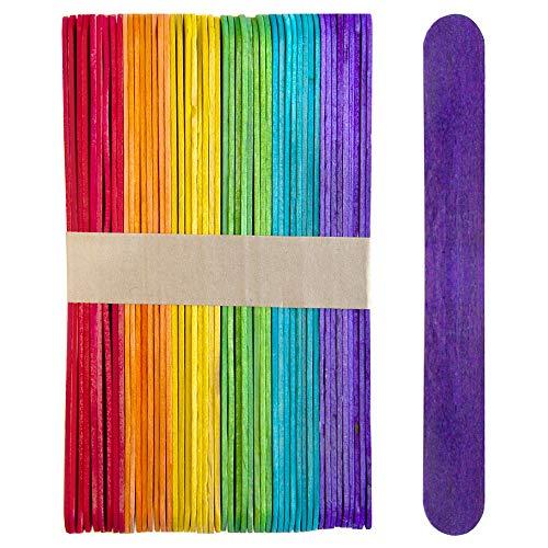 1000 Sticks, Jumbo Wood Craft Popsicle Sticks 6 Inch (Multi Color)