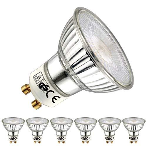 EACLL Bombillas LED GU10 2700K Blanco Cálido 5W 450 Lúmenes Equivalente 50W Halógena. 36 ° Luz Blanca Cálida Lámpara Reflectoras Spotlight LED, 6 Pack