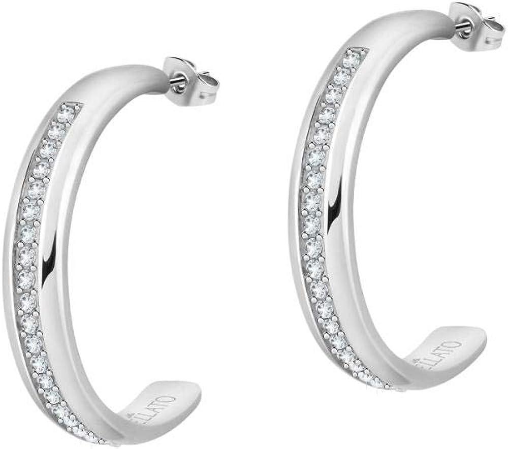 Morellato, orecchini da donna, collezione cerchi, in acciaio e cristalli SAKM70
