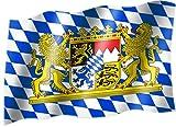 Sportfanshop24 Flagge/Fahne Bayern MIT LÖWE (kleine Rauten) Staatsflagge/Landesflagge/Hissflagge mit Ösen 150x90 cm, sehr Gute Qualität