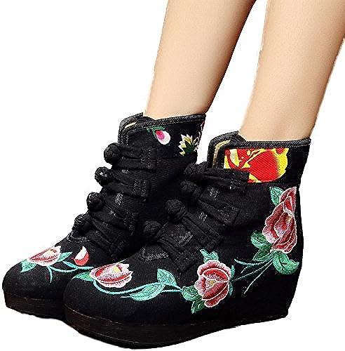 KHSKX-Bordado De Estilo Folk botas botas Old Beijing zapatos zapatos De mujer botas De Invierno botas De Paño De Retro