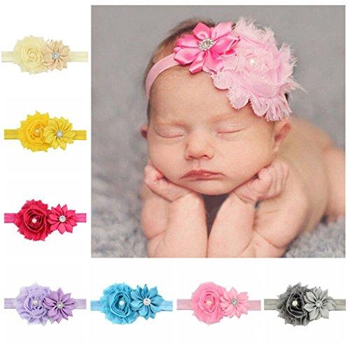 Baby Girls Ribbon Hair Bows Clips Fashion Lace Flower Pearl Headbands pour les filles Enfants
