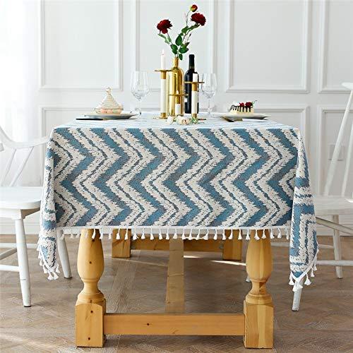 XXDD Mantel de Cocina Rectangular a Prueba de Polvo e Impermeable para Mesa de Comedor Mantel Decorado con borlas onduladas A1 150x210cm