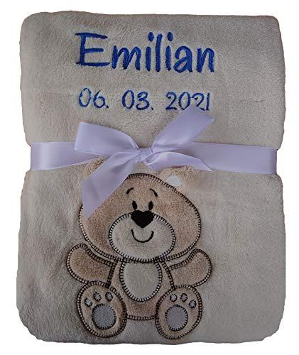 Babydecke viele Farben & Motive mit Namen / Geburtsdatum Bestickt Geschenk Baby (Creme Teddy)