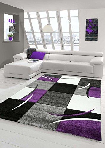 Traum Tapis design moderne à poils courts avec contours découpés, motif carreaux violet, gris, crème, noir, Polypropylène, beige, 60x110 cm