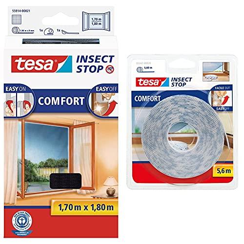 tesa Insect Stop COMFORT Fliegengitter für Fenster - Insektenschutz mit Klettband selbstklebend - Fliegen Netz ohne Bohren - anthrazit, 170 cm x 180 cm & Recambio cinta Velcro 5,60m blanco, Standard