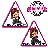 Biomar Labs® 2 Stück Vinyl Baby Boss on Board Bord Kind Sicherheit Aufkleber Auto-Aufkleber Stickers Auto Moto Motorrad Fahrrad Helm Fenster Tuning B 166