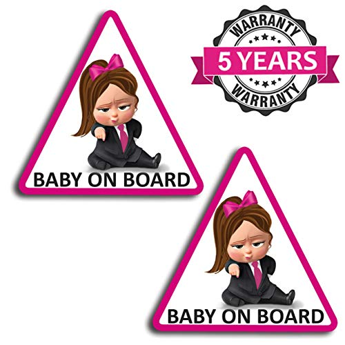Biomar Labs 2 stuks vinyl baby boss on board kind veiligheid sticker autosticker sticker auto moto motorfiets helm raam tuning B 166