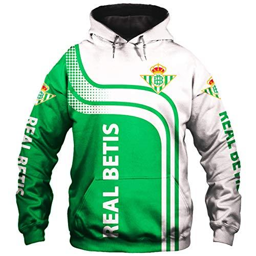 TFTORY-H Hombres Hoodies por Real-Betis 3D Impresión Pull-Over Sweatshirts Real-Betis-Fan Unisexo Saltador Tops Suelto / A1 / XXL