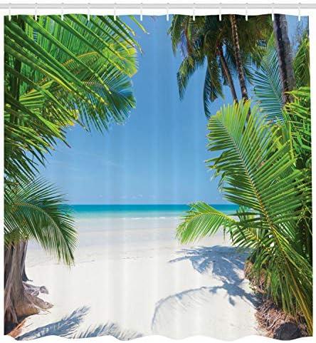 Gothic90punk Ocean Douche Gordijn Palmblad Tropische Strand Print voor Badkamer Accessoires Creatieve Heeft 12 Haken 180X180CM