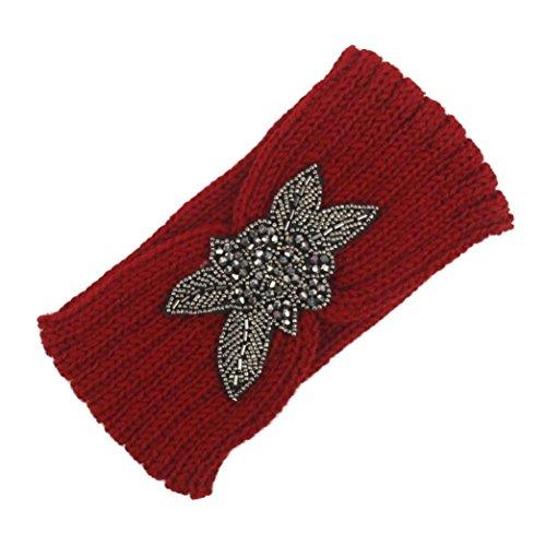 POachers Bandeau Cheveux Femme Hiver Chaud Tricot Bande de Cheveux Bandeaux Elastique Serre Tete (Rouge)