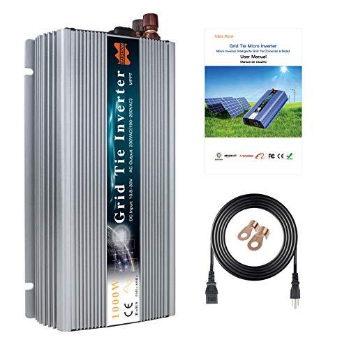 Marsrock 1000W Grid Tie Inverter, 20-50V DC to AC 120V/220V Pure Sine Wave Inverter for 1000-1200W 24V, 30V, 36V PV Module or Wind Turbine (AC120V Silver)