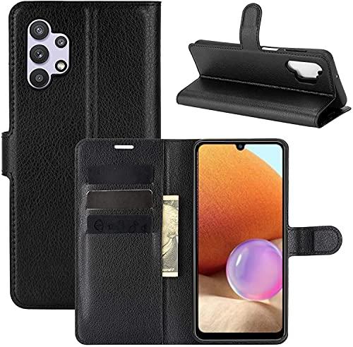 """Capa Capinha Carteira 360 Para Samsung Galaxy A32 4g com Tela de 6.4"""" Polegadas Case Couro Flip Wallet (Preta)"""