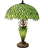 Tiffany Style Table Lamp W16H24 Inch Tall Green Stained Glass Wisteria Lampshade Antique Night Light Base S523 WERFACTORY LAMPS Lover Living Room Bedroom Office Study Reading Desk Nightstand Art Gifts